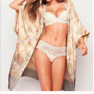 Victorias Secret Satin Floral Beige Lace Robe